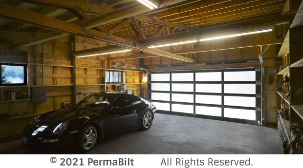 Interior of pole barn garage with fancy car inside